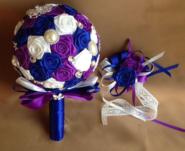 Royal Blue White And Purple Silk Rose Flower Bridal Bouquet With