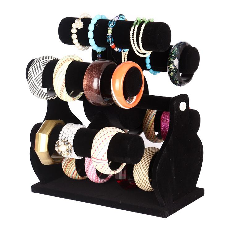 Six-Layer Rotating Black Velvet Moulin à Vent Montre Bracelet Bracelet Stockage Rack Titulaire Bijoux Présentoir Bijoux Compteur Vitrine Props