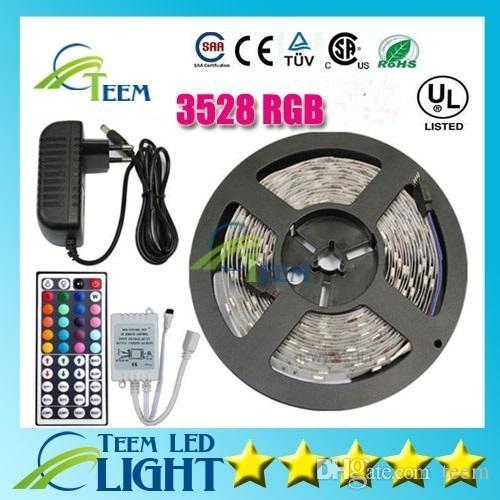 Étanche RVB 3528 RVB CW WW WW 5M 300 led éclairage led bande de lumière Étanche 44 touches télécommande IR Contrôleur + 12V 2A Alimentation