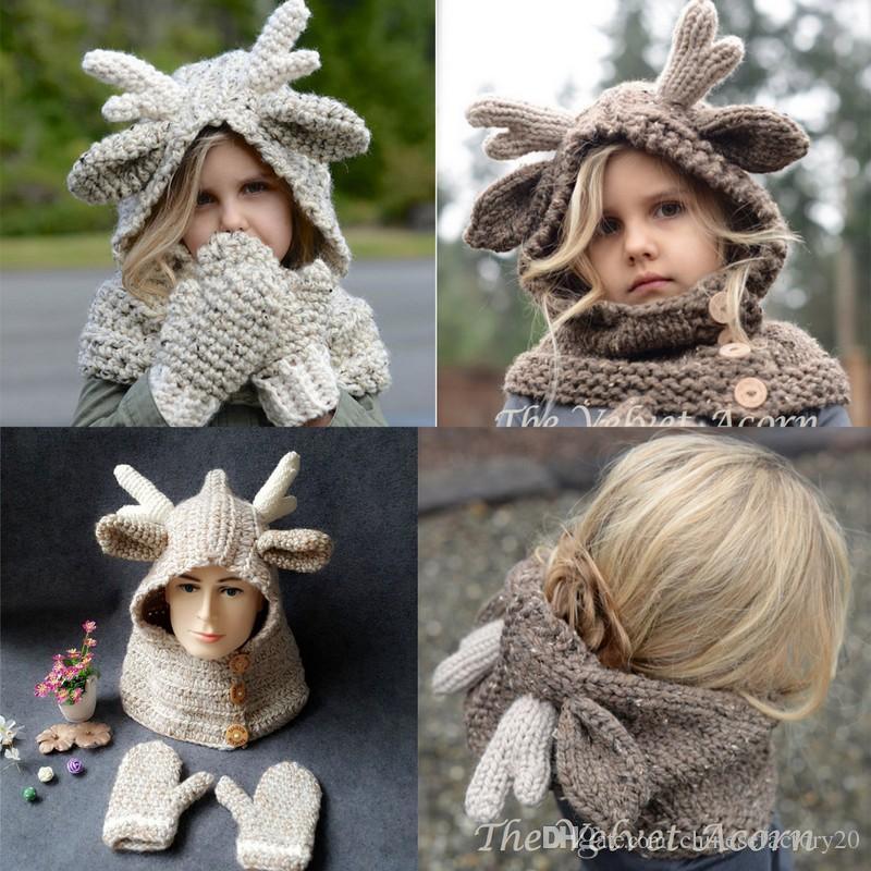Baby-Winter-Weihnachtselche-Hut-Schal + Handschuhe 2pcs scherzt Karikatur-Rotwild gestrickte Wärmer-Handschuhe für Kinder 2-9T