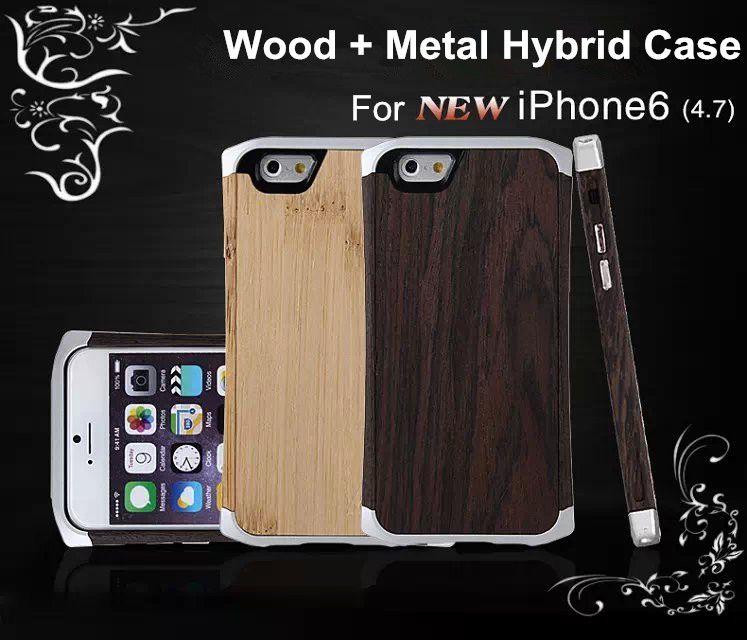 아이폰 6 / 6 플러스 목재 케이스에 대 한 나무 대나무 알루미늄 금속 하이브리드 프레임 작은 허리 Cleave 하드 다시 커버 가죽 주머니 가방 4.7 5.5