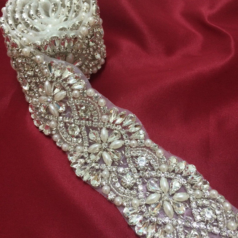 Bridal Bridesmaid Prom Dress Crystal Pearl Silver Appliqué For Sash Belt 1 Yard
