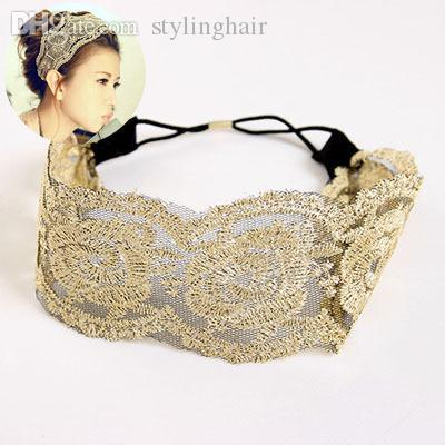 Style coréen gros-Fashion dentelle fleur bandeau élastique Hairband accessoire de cheveux pour les femmes et les filles chauds belle chapeaux de mariage
