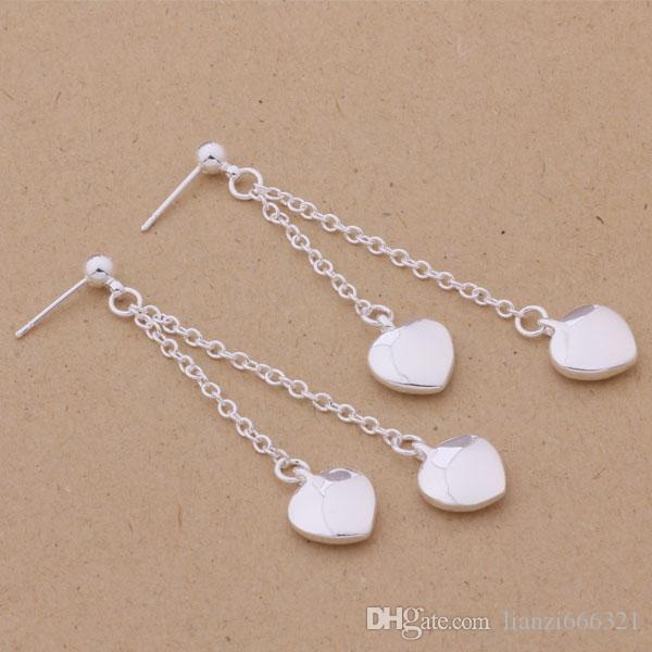 Mode (fabricant de bijoux) 40 pcs beaucoup Hanging Tassel Heart boucles d'oreilles en argent sterling 925 usine de bijoux Fashion Shine Earrings