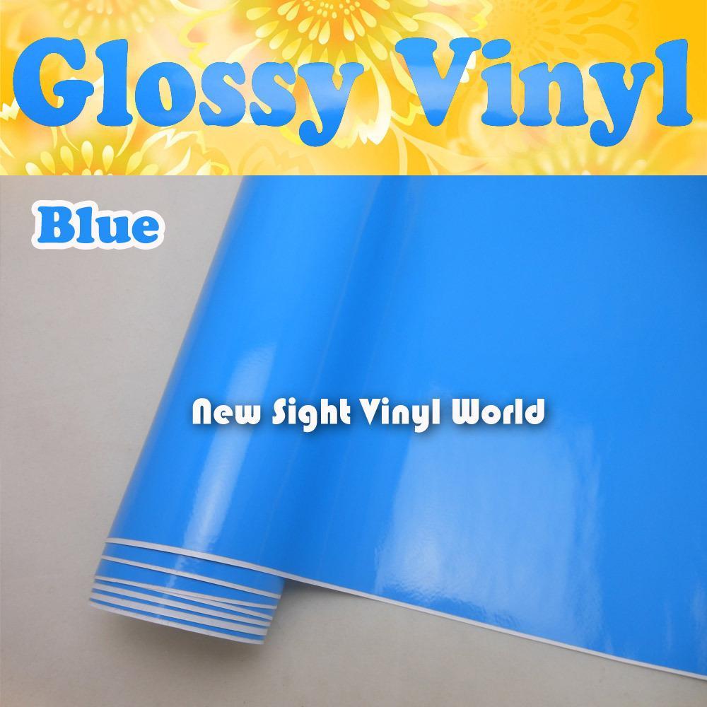 高品質の光沢のあるブルービニールラップブルーの光沢のあるラップフィルムエアフリーカーデカールカーグラフィックサイズ:1.52 * 30m /ロール