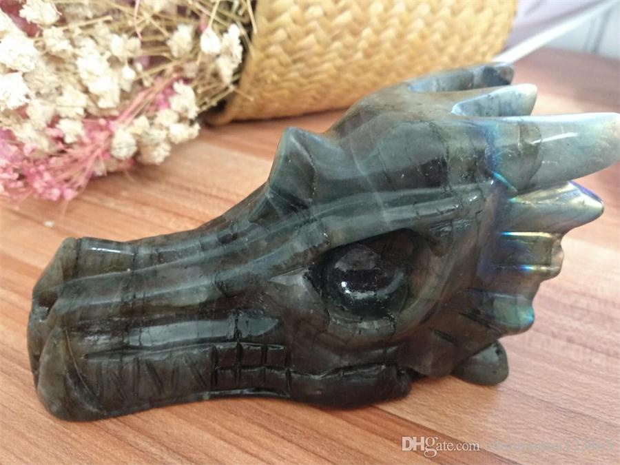 Free Shipping Natural labradorite Dragon Skull/Head crystal reiki healing carving for home decoration stone skull