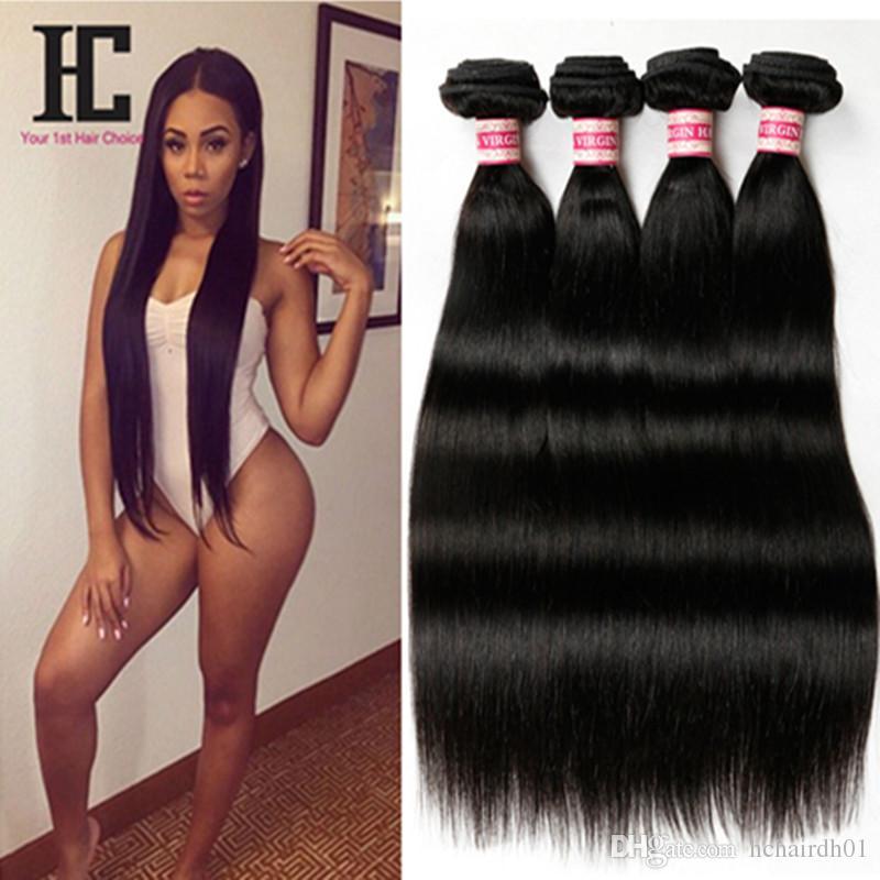 Grade 7A Brésilienne Vierge Cheveux Raides 4 Pcs HC Cheveux Produits Non Transformés Vierge Cheveux Droite Top Brésiliens Cheveux Weave Bundles