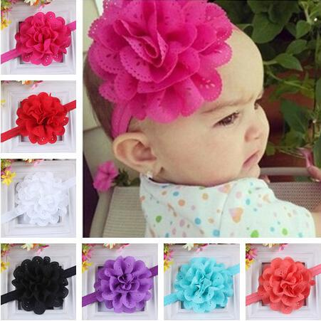 12 Color Children Hair Accessories 10cm Baby Ruffled Chiffon Flower With Elastic Hair Band