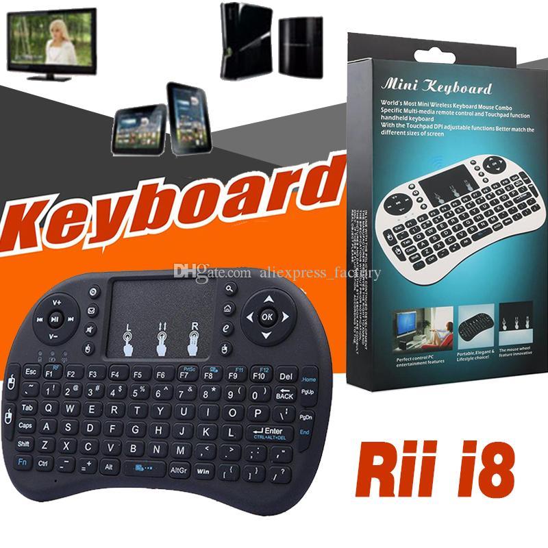 Mini Rii i8 Teclado Sem Fio 2.4G Inglês Air Mouse Teclado Controle Remoto Touchpad Para Smart TV Android Box Notebook 3D Jogo Tablet PC