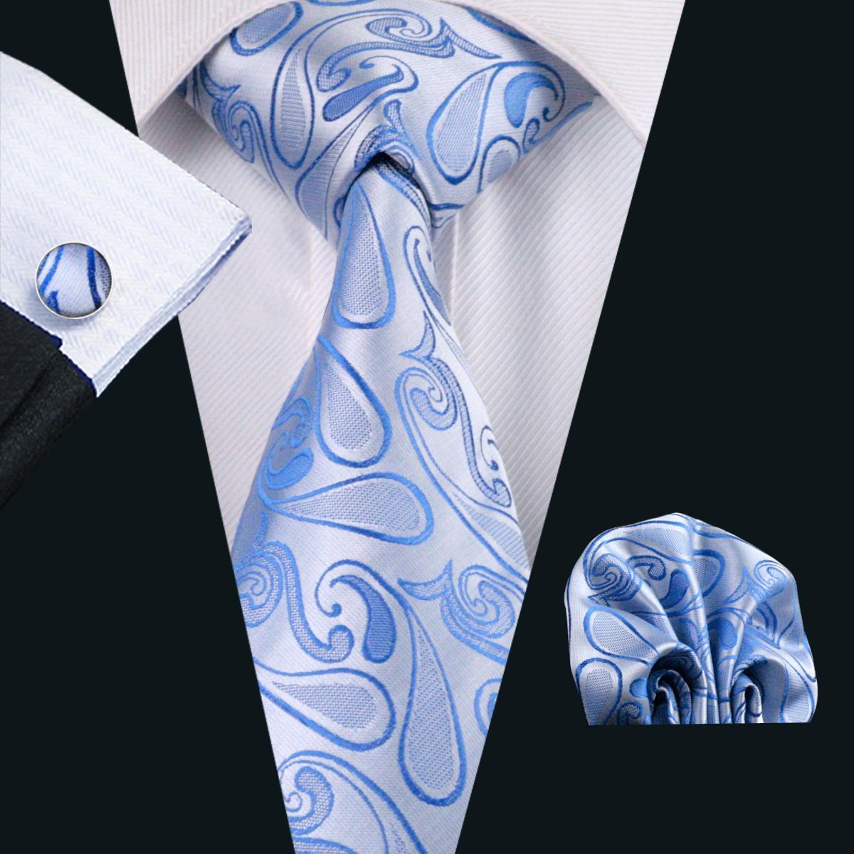 Paisely Tie Pocket Square Manchetknopen Set Blauw Kleur 8.5cm Breedte Meeting Business Casual Party Stropdas Jacquard Woven N-1157