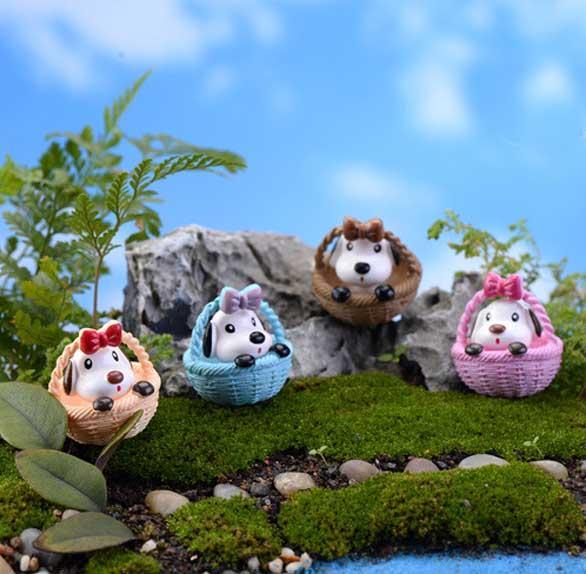 4 pz carino Cestino cane fata giardino gnome moss terrario decor mestieri della resina bonsai DIY home decor animale Micro Paesaggio