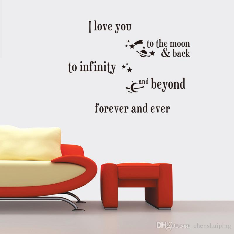 I Love You To The Moon And Back Wall Art i love you to the moon and back quotes wall stickers new removable