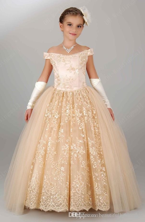 Compre Encantadoras Niñas Vestidos De Flores De Encaje Hecho A Mano Mangas Capsuladas Vestidos De Niña De Flores Vestidos Largos Para Niñas Vestidos