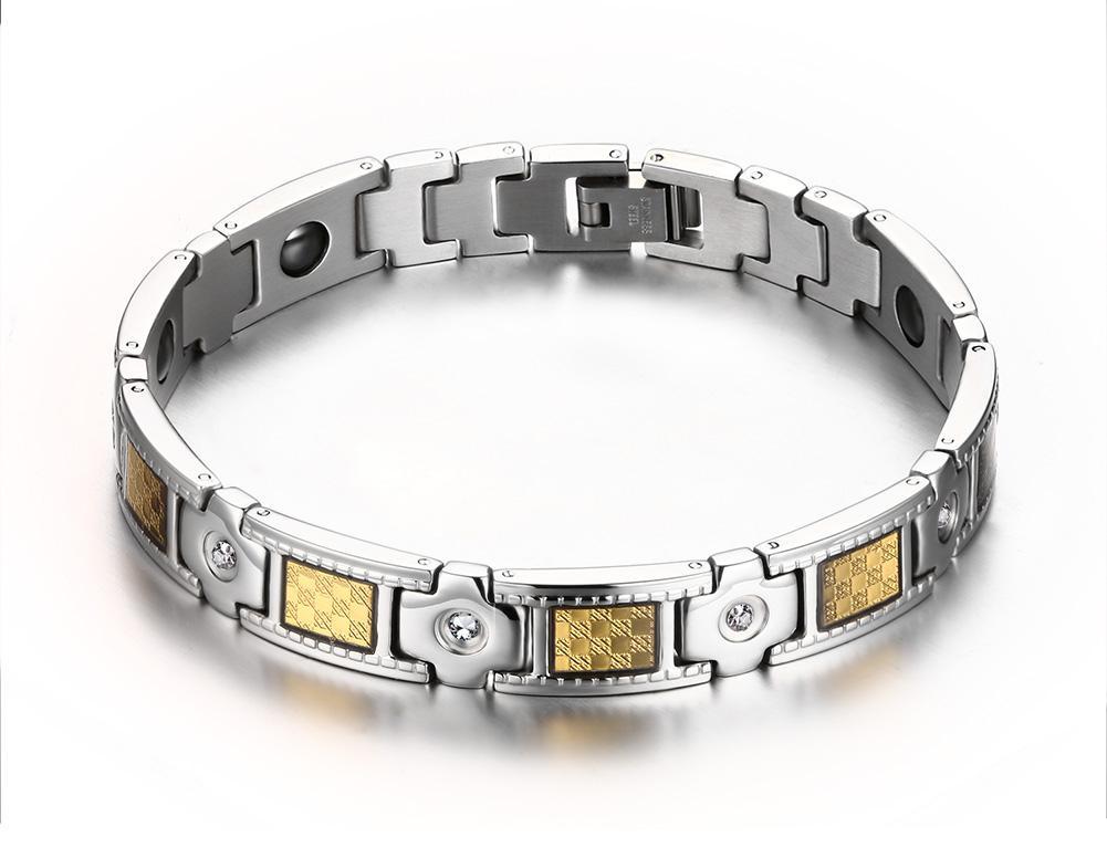 Magnetic Black & Gold Foil Carbon Fibre Bio Energy Hematite Bracelet with CZ Crystal Accent