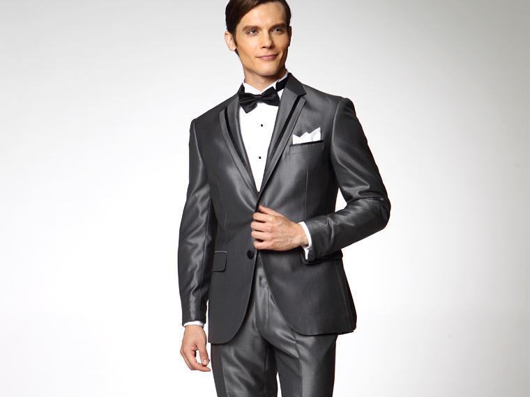 Custom Made Groom Tuxedos Notch Lapel Groomsmen Suit Shiny Gray Best Man/Bridegroom/Wedding/Prom/Dinner Suits (Jacket+Pants+Tie+Girdle) K296