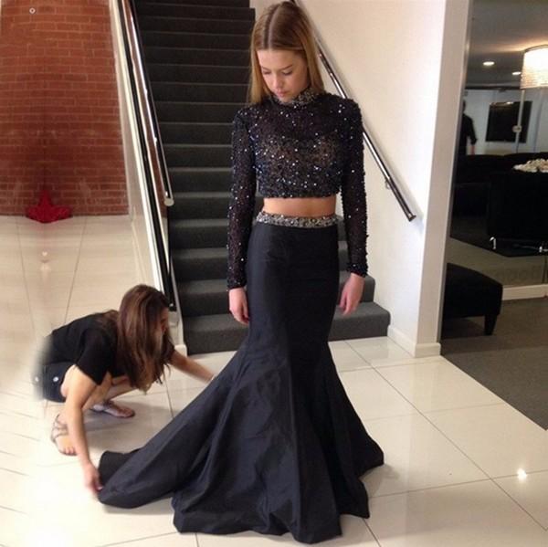 Twee stukken 2018 avondjurken Saoedi-Arabië Prom-jurken Crystal New Sweetheart Bead Prachtige Formele Jurken Custom Made Sexy Floor Length