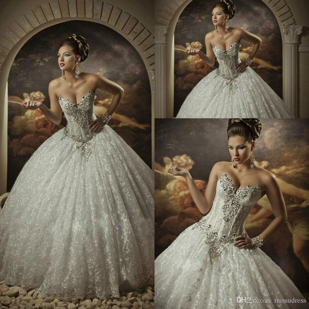 2015 Lace Ball Gown Wedding Dresses With Rhinestones Sweetheart ...
