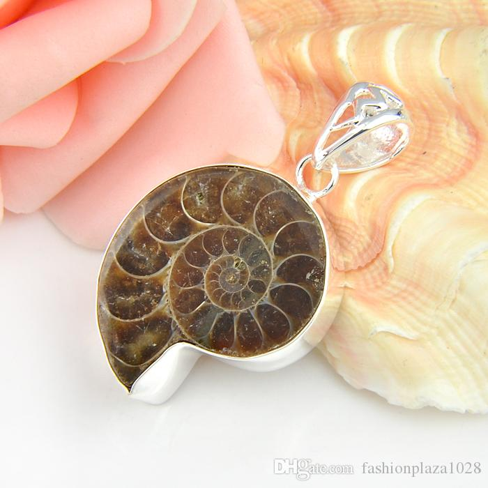 Pure Handmade High Quality Luckyshine 5pcs Lot Hot Sale Natural Ammonite Fossil Gems Silver Pendant Weddings Jewelry Gift Unisex