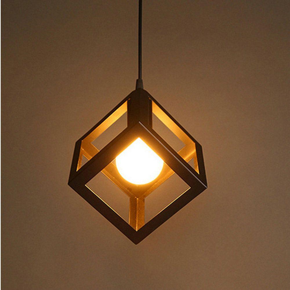 Iluminación pendiente de cubierta cuadrada de hierro sahpe círculo triángulo colgante de lámparas lámpara de hierro de la vendimia Luz pendiente de la lámpara E27 negroblanco