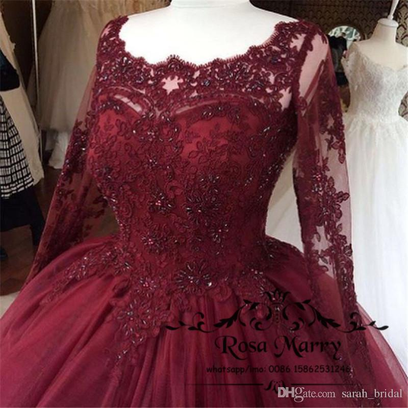 Burgundy Masquerade Ball Gown Quinceanera Dresses 2019 Vintage Lace Sequins  Long Sleeves Plus Size Sweet 16 Vestidos 15 Anos Prom Party Gown ...