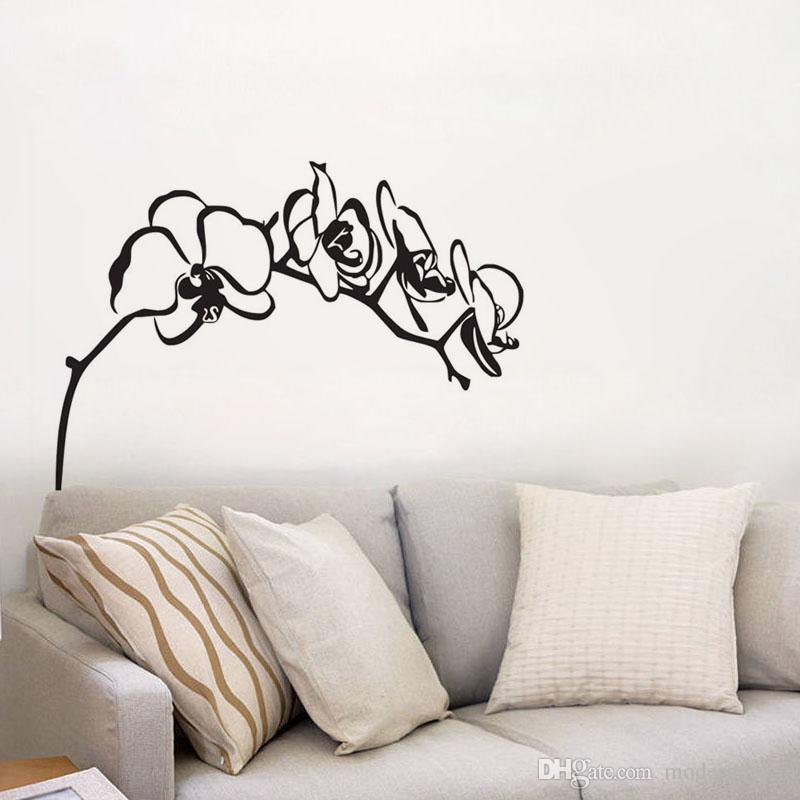 Orchid Tree Branch Wall Decals Vinyl Removable Flower Wall Stickers Home Decor Bedroom Wall Decorative Stickers