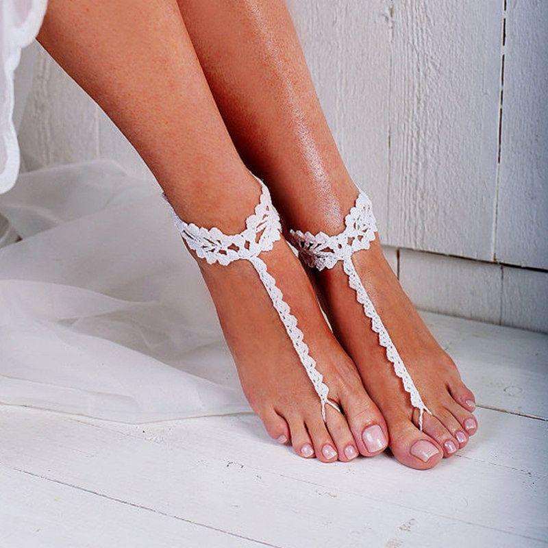 Gehäkelte Barfuß Sandalen Schmuck, Brautjungfer Geschenk, Barfuß Sandalen, Strandschuhe, Fußkette, Hochzeitsschuhe, Strand Hochzeit, Sommerschuhe