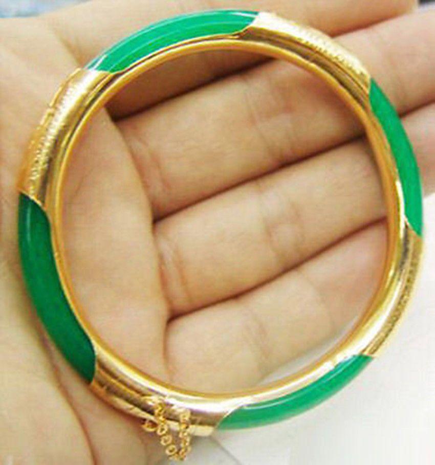 Braccialetto con braccialetto placcato oro giallo giada verde smeraldo