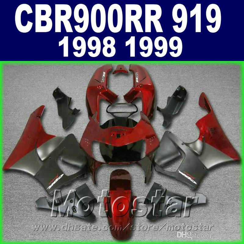 Aftermarket fairing kit for Honda CBR900RR 1998 1999 matte black red motorcycle fairings set CBR 900 RR CBR919 98 99 QD92