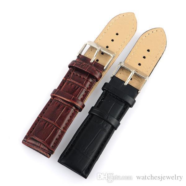 All'ingrosso-All'ingrosso di alta qualità 30pcs / lot 18MM 20MM 22MM cinturino in vera pelle cinturino impermeabile cinghie da trekking fascia nera Black407