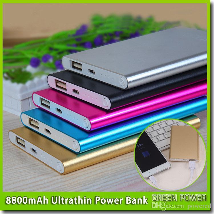 powerbank delgada 8800mAh Banco de potencia ultra delgado ultrafino para el teléfono móvil de la batería externa Tablet PC envío libre