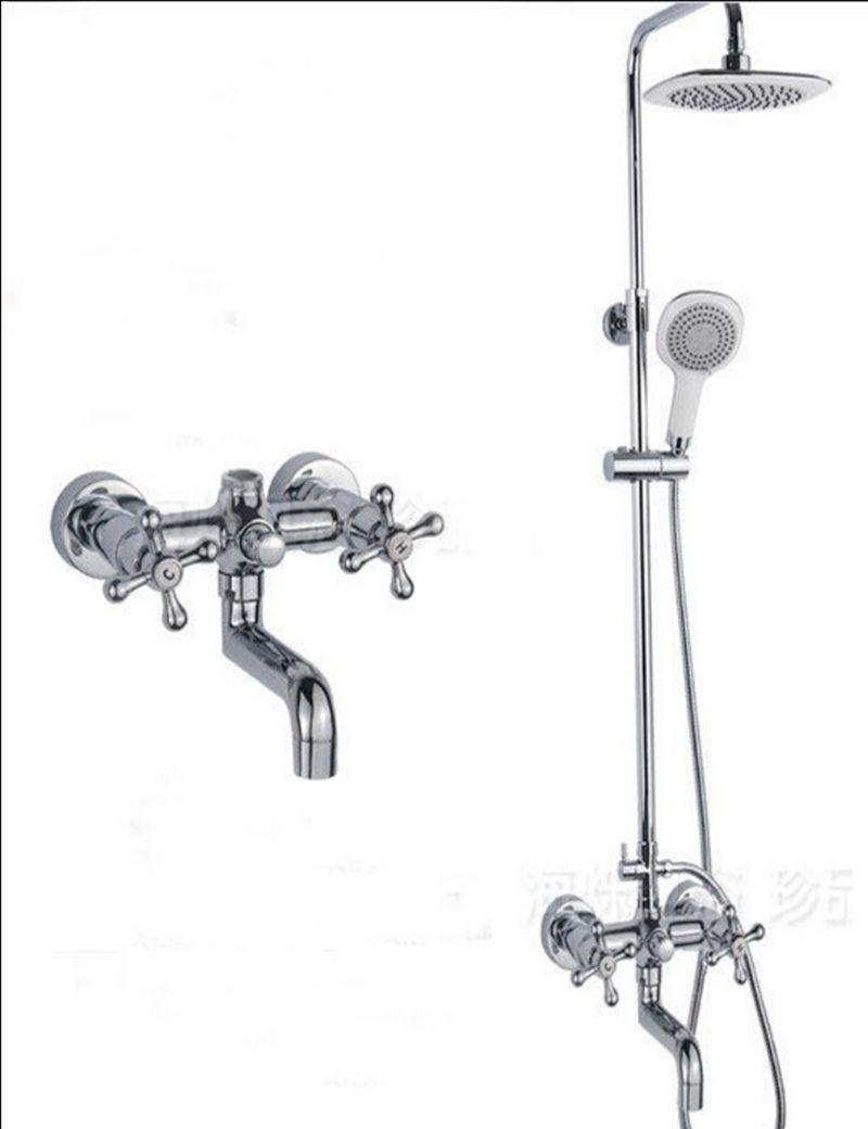 2019 Wholesale And Retail Promotion Luxury Wall Mounted Shower Faucet Set Double Cross Handles Tub Mixer Tap Chrome From Gonglangno1 116 69