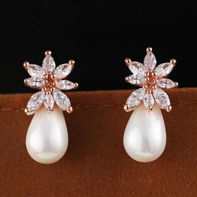 zircon stone flower pearl drop lady's earings ( 1.2*2.2cm ) (woniu152)