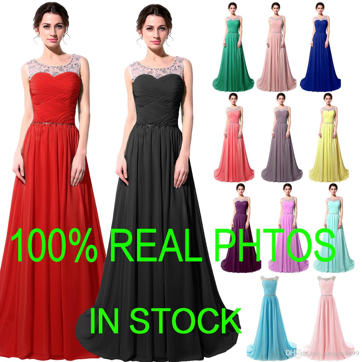 Vestidos de fiesta de noche de cristal de gasa formal real Granos Rosa Menta Rojo Negro Largo Dama de honor Vestidos de fiesta nupciales en stock Tallas grandes