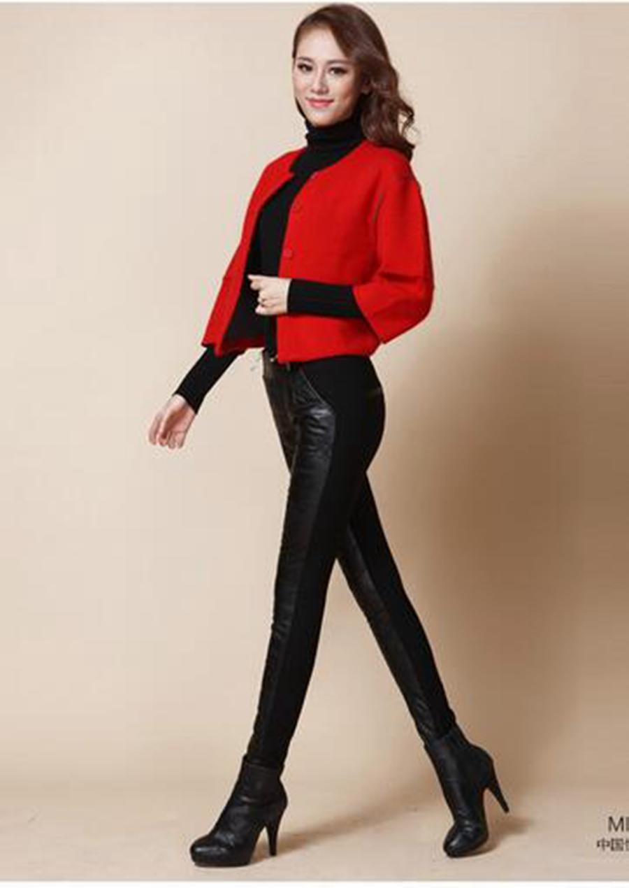 Dameswinter in Europa en de nieuwe kwaliteitsgoederen dragen bil tonen dunne stiksels stretch naar beneden strakke lederen broek. 258 S - 2XL