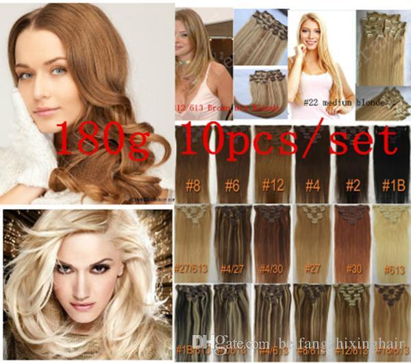 الجملة-- 180g / pc 10pc / set 100٪ شعرة الإنسان الحقيقي / مقاطع الشعر البرازيلي في ملحقات رأس مستقيم كامل جودة عالية الحقيقي
