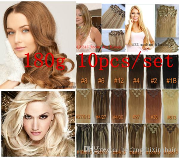 Wholesale - 180g/pc 10pc/set 100% real human hair/brazilian hair clips in extensions real straight full head high quality