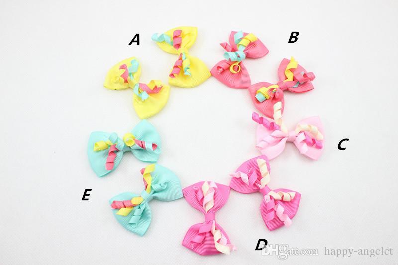 """20pcs 2.5"""" Ruban Korker Hair Bow clip fille Accessoires cheveux Boutique Side Type de clip mignon Gymboree princesse pour Kid Hairpins HD3406"""