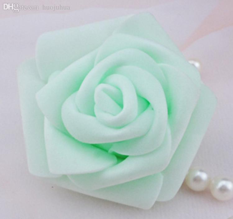 Al por mayor-Alta calidad 100pcs / lot 7cm Foam Rose Head Artificial Fower Heads Mint Green Tiffany Blue Flowers Decoración de la boda