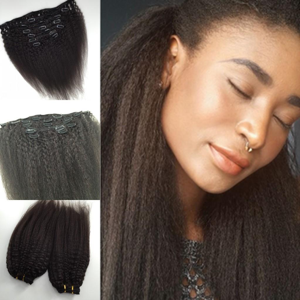 2016 Новый ближайшие 120 г набор девственница бразильский человеческих волос афро кудрявый прямой клип в человеческих волос расширения для черная женщина