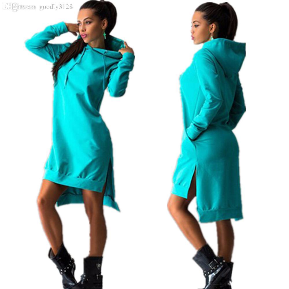 Groothandel-Mavodovama 2015 O-hals lange mouw katoen vrouwen jurken mode casual zwart winter lange hoodie jurk plus size vestidos