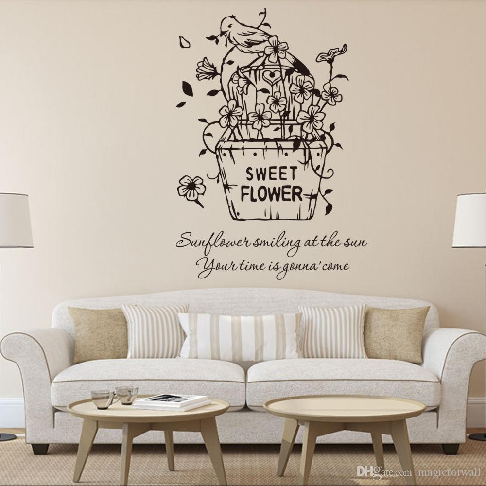Wall Art Designs For Living Room Sweet Flowers Wall Art Quote Decal Sticker Living Room Bedroom