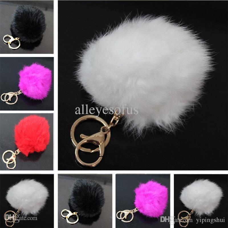 Venta al por mayor-1PCS Envío libre Suave de peluche de imitación bola de la piel llavero llavero del coche bolso colgante decoraciones