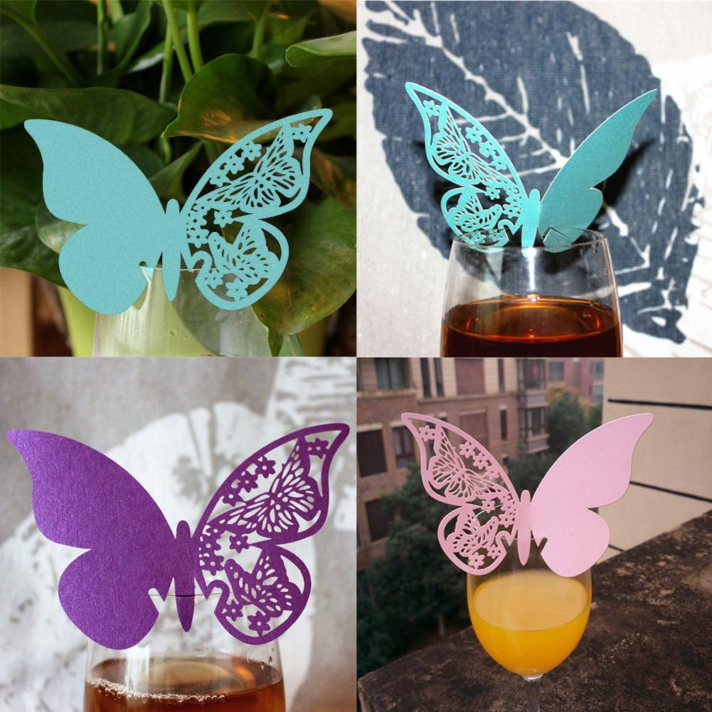 50pcs/lot Butterfly Place Escort Wine Glass Cup Paper Card pink, purple, green for Wedding Party decoration 11cm*7cm