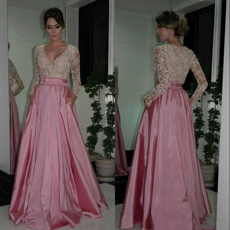 Gorgeous Evening Dresses Mother of the Bride Dress A Line V Neck Beaded Sheer Long Sleeve Wedding Party Gowns Custom Made