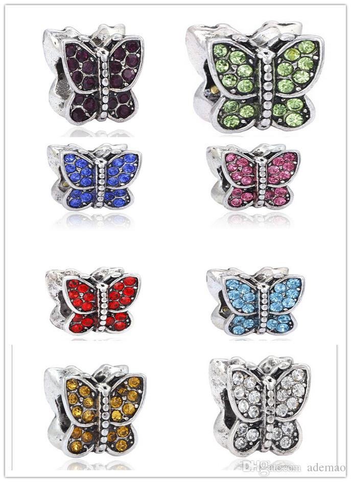 8 colors Newest loose space butterfly beads Charms Beads fit DIY Bracelets jewelry freeshipping