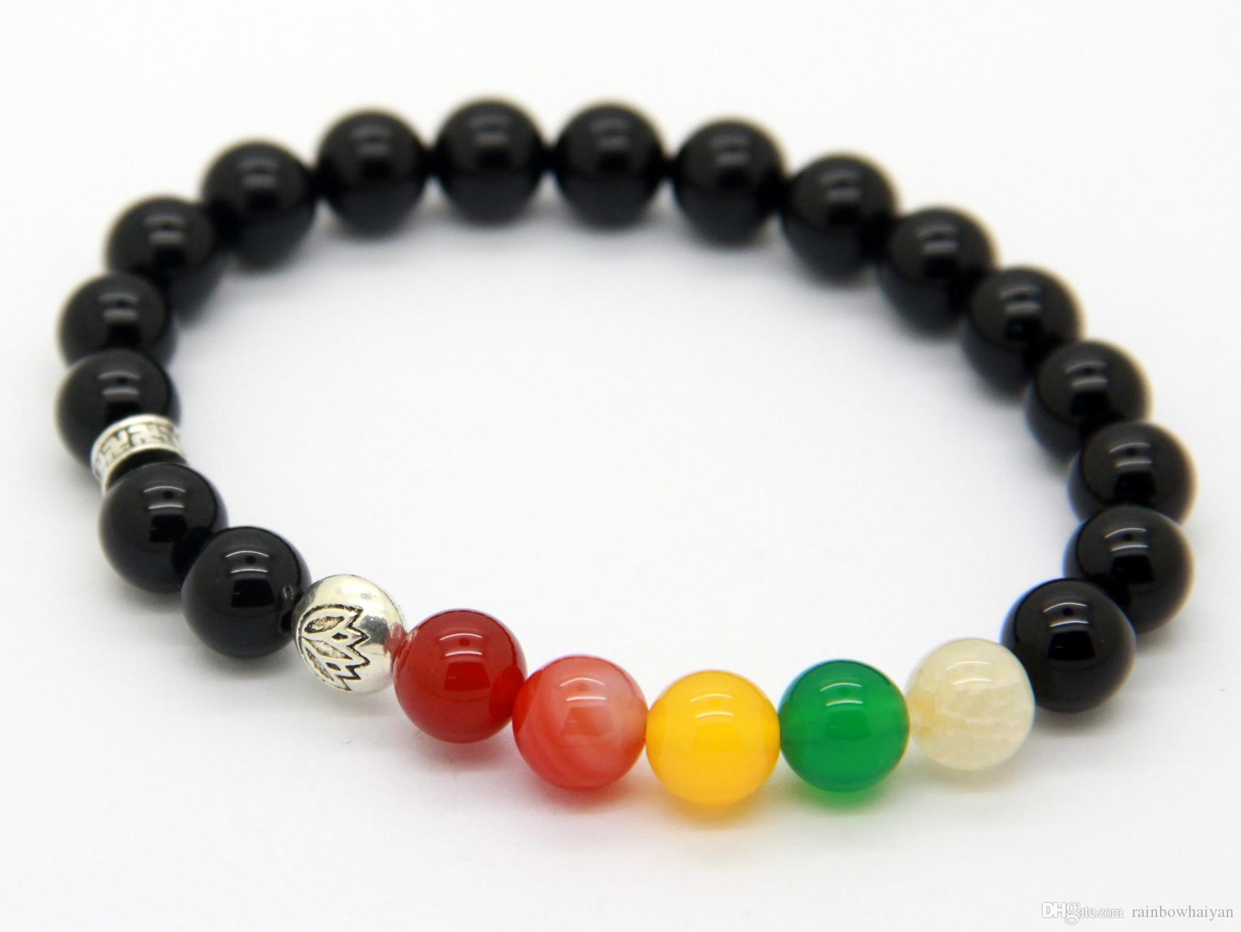 Nuovi prodotti all'ingrosso 10 pezzi / lotto perline di pietra di agata nera naturale Braccialetti di meditazione del loto yoga Gioielli di alta qualità