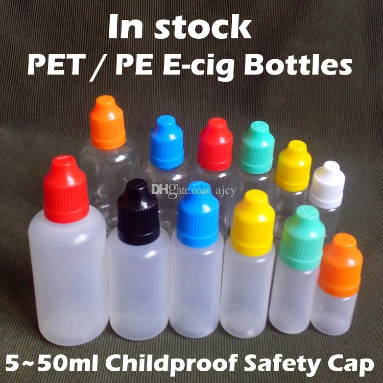 E Liquid Bottles PET LEPE 5ml 10ml 15ml 20ml 30ml 50ml Empty Plastic Dropper Bottle with Child Proof Bottle Cap and Needle Tips for E liquid