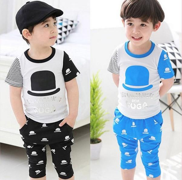 2019 Children Clothes 2014 2015 Summer Kids Boys Two Color Hat Short Sleeve  Watches T Shirts+Pants Suits Sets,/Dandys From Dandys, $47.84
