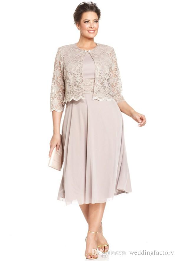 Plus Size Dresses Mother Bride Short Formal Gowns Tea Length Chiffon  Wedding Party Dress With 3/4 Long Sleeves Lace Jacket Custom Made Joan  Rivers On ...