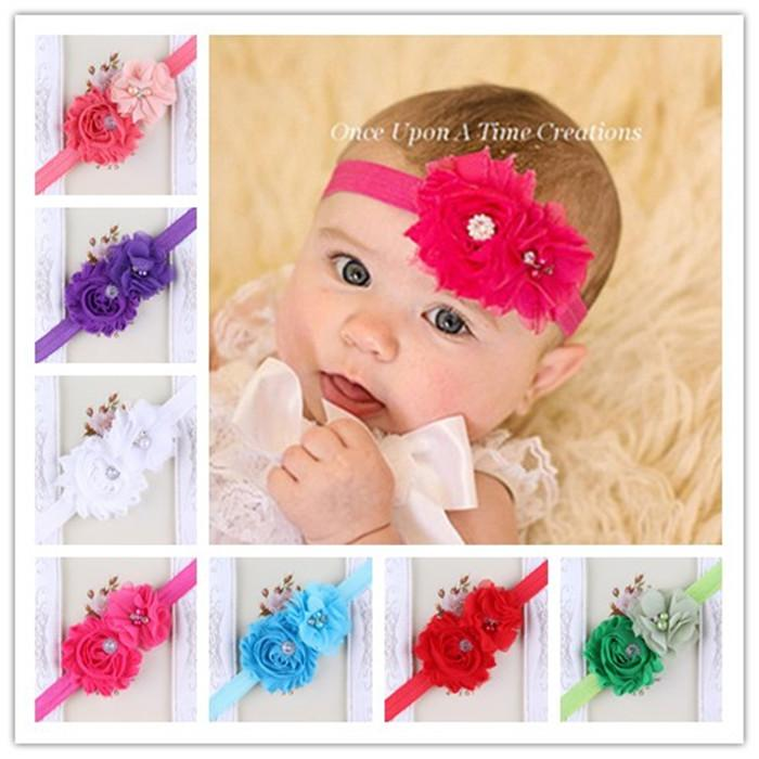 Lot of 20 Newborn Baby Infant Girls Shabby Double Flower Elastic Headbands